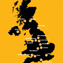 Map of UK metros NovaLoca blog commercial property image via RSA City Growth Commision report