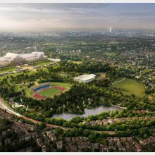 Aerial shot of Crystal Palace development