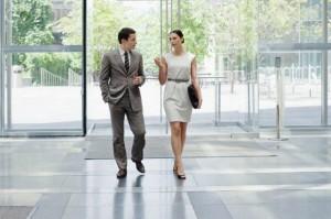 Walking in a happy workplace