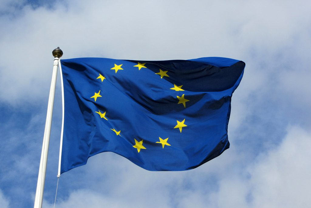 European Union Flag against a blue, non-British sky