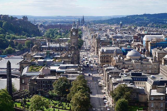 An aerial view of Edinburgh, Scotland, looking resplendant.