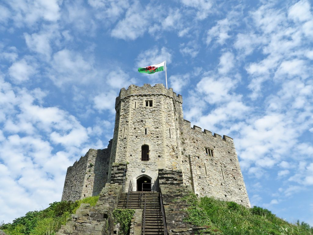 Cardiff Castle against a blue sky