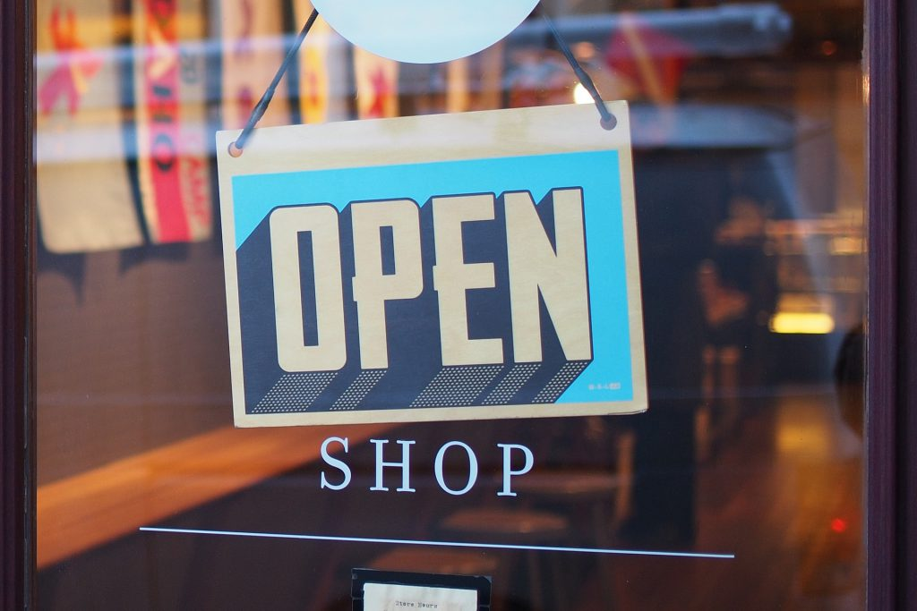 A sign indicatig that this shop is, indeed, 'open'.