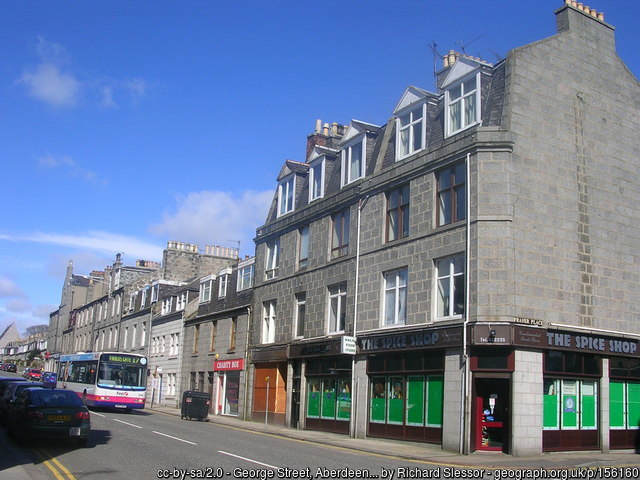 George Street in Aberdeen on a bright, blue skies day