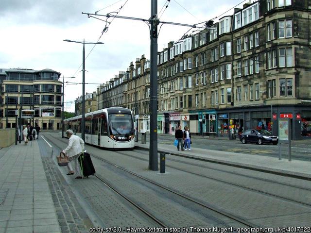 The Haymarket in Edinburgh tram stop