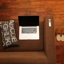 laptop on a sofa