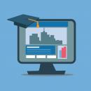 computer with a graduation cap