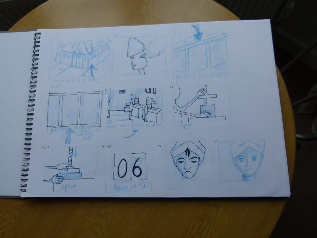 page of sketch book showing storyboard
