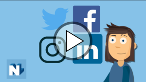 cartoon person stood next to social media logos