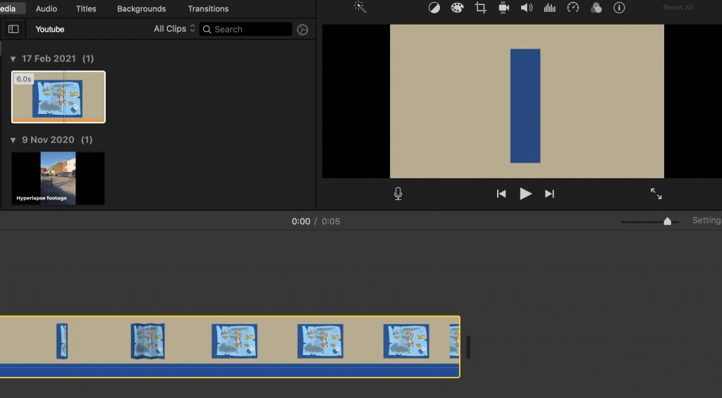 screen shot of iMovie software