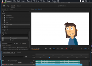 Animated character software screen