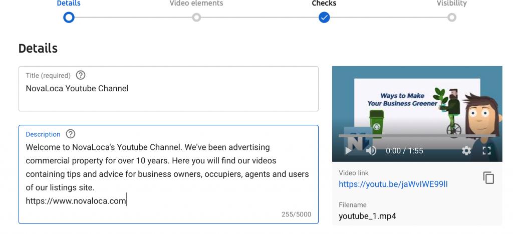 screen shot of description box on youtube video uploader