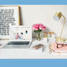 objects on a white desk