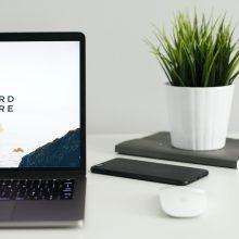 open laptop on a desk