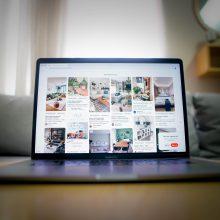 open laptop showing a Pinterest dashboard