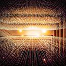 light beams of data in a dark box
